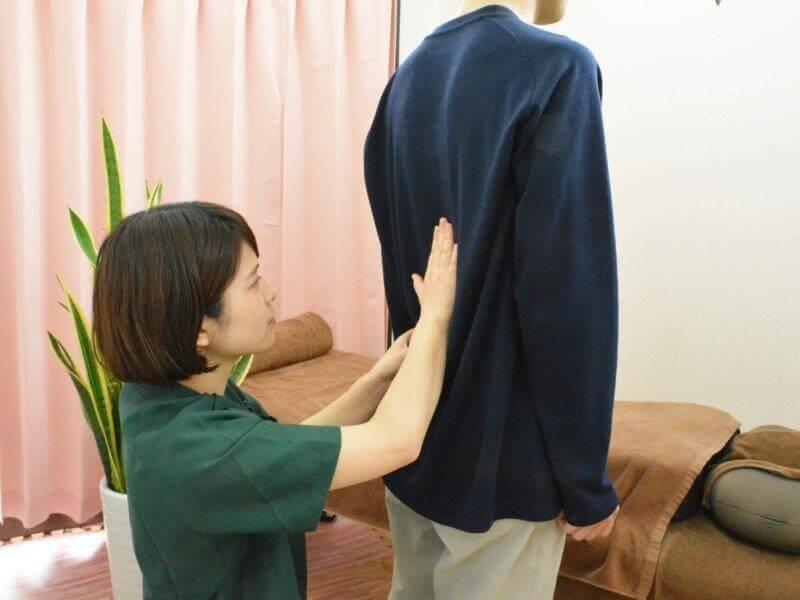 浦安の鍼灸整体院+nicoで背骨確認をしているところ